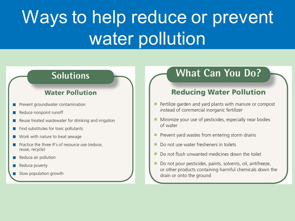 Ways to help reduce or prevent water pollution