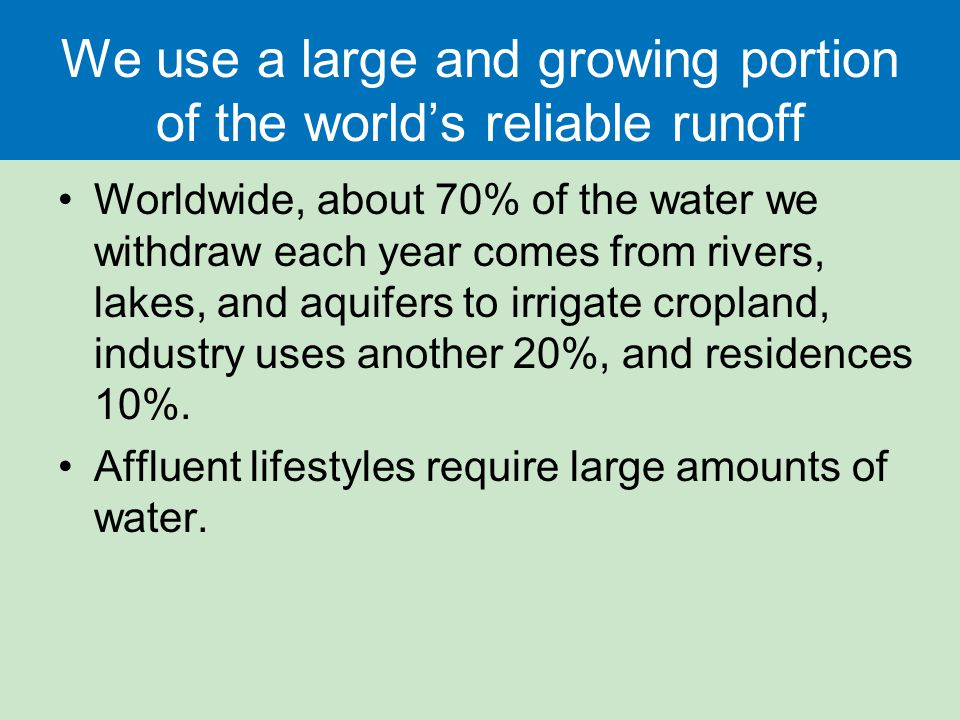 We use a large and growing portion of the world's reliable runoff
