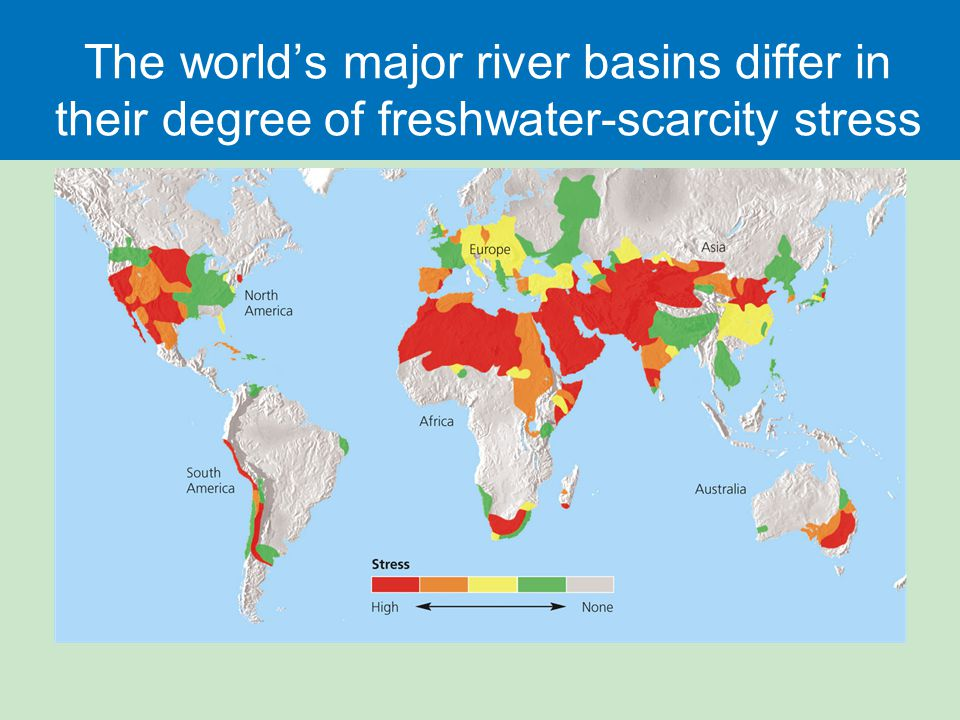 The world's major river basins differ in their degree of freshwater-scarcity stress