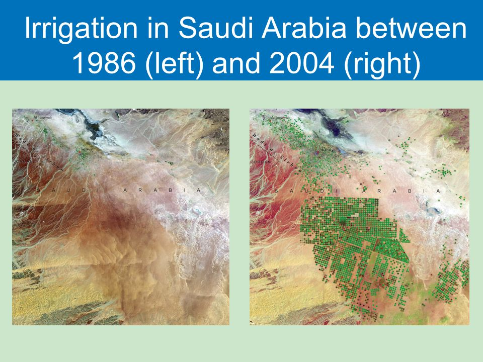 Irrigation in Saudi Arabia between 1986 (left) and 2004 (right)