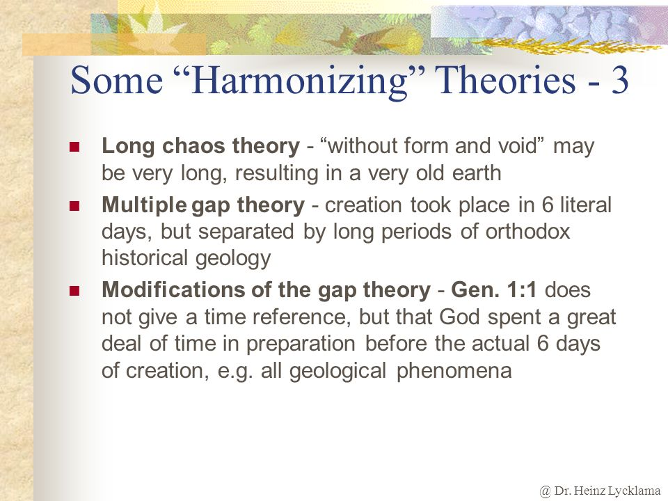 an overview of the creationist theory Creation versus evolution: we compare the theory of evolution with the bible's creation account in easy-to-understand terms, using evidence from the fields of paleontology, geology, biology, and astronomy.