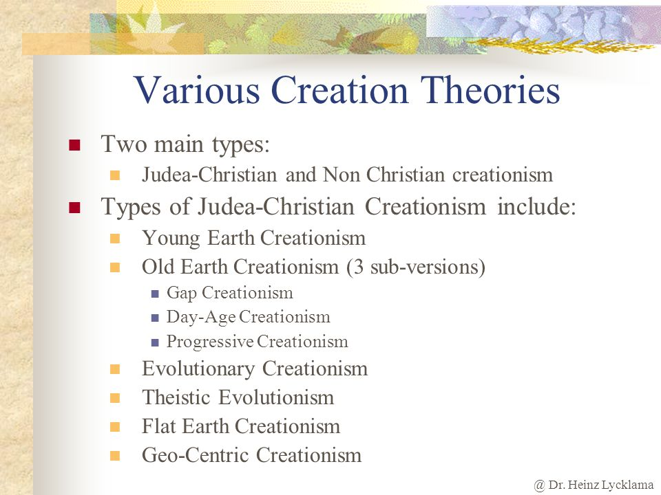 Various Creation Theories