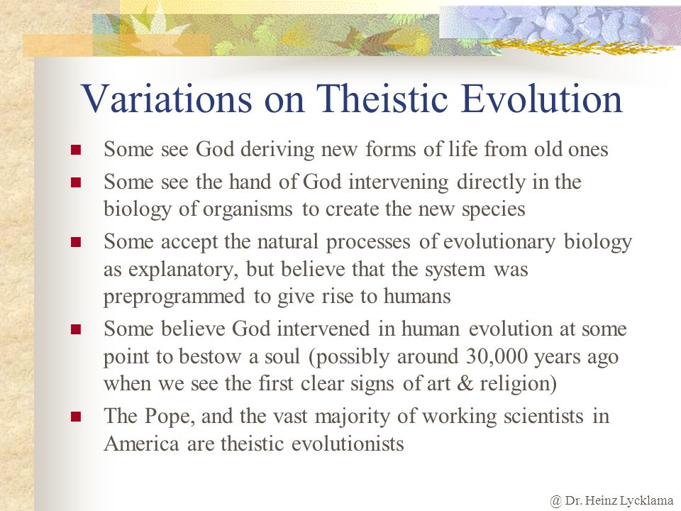 Variations on Theistic Evolution