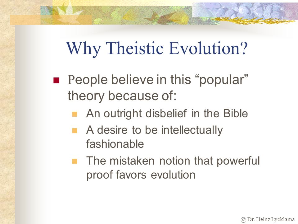 Why Theistic Evolution