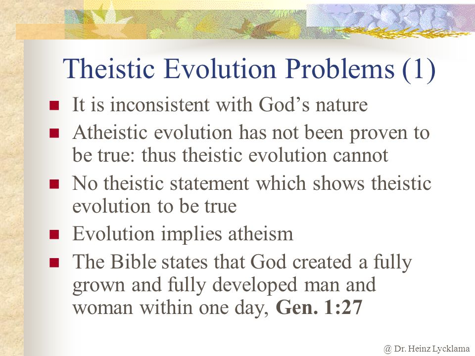 Theistic Evolution Problems (1)