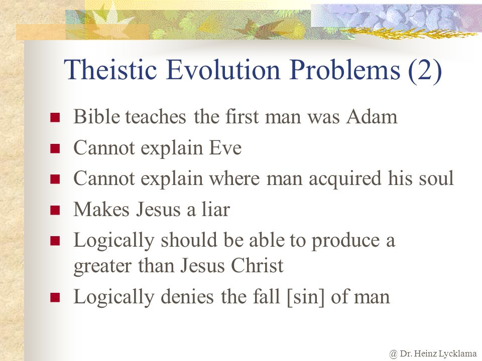 Theistic Evolution Problems (2)