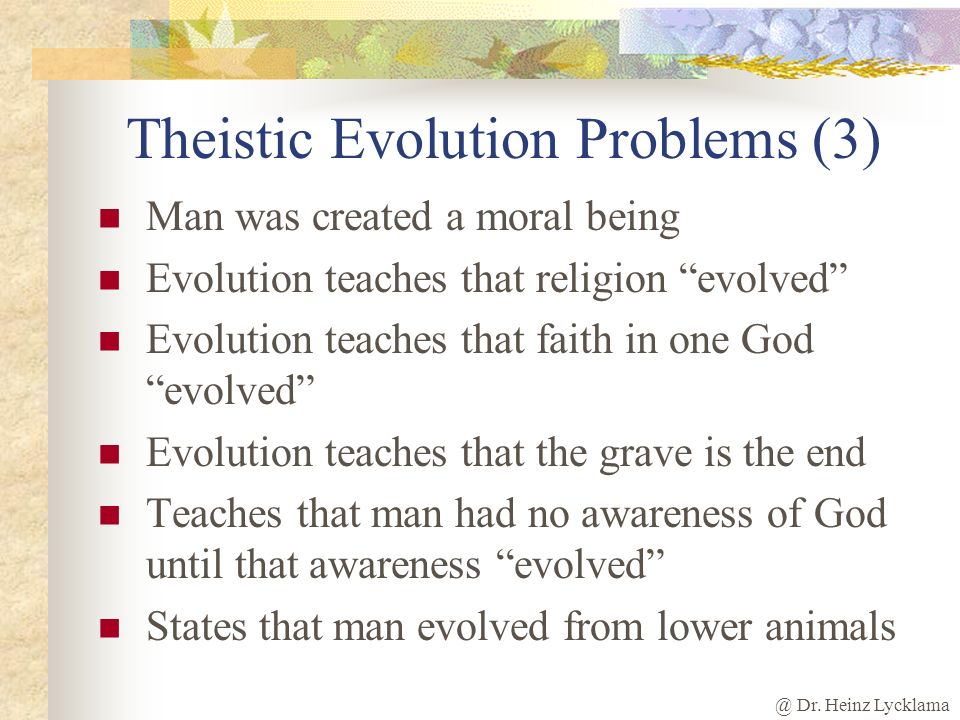 Theistic Evolution Problems (3)