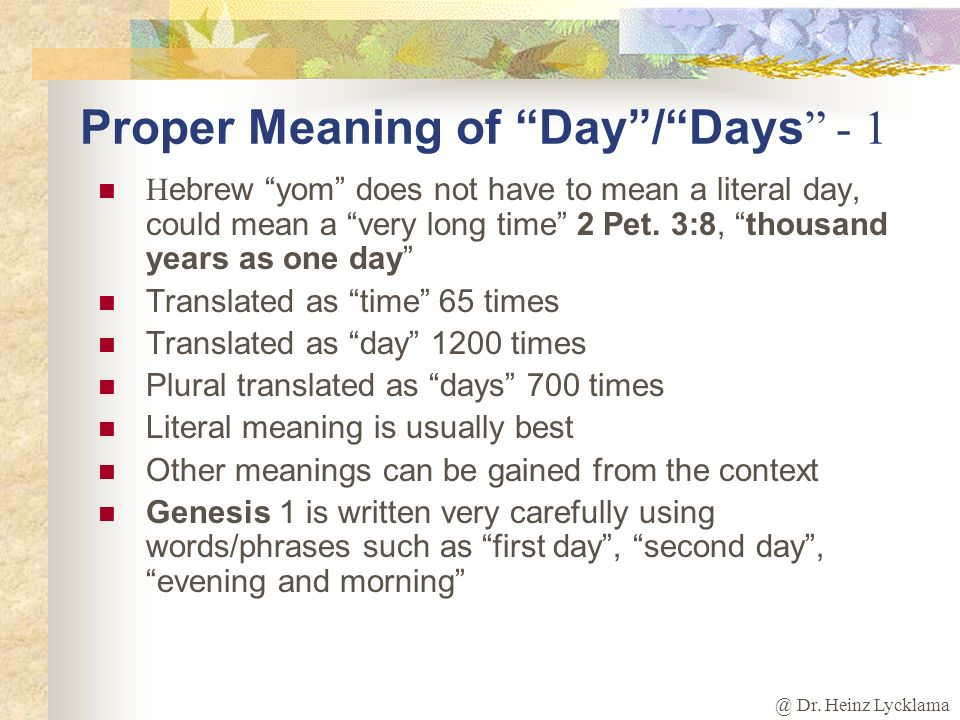 Proper Meaning of Day / Days - 1