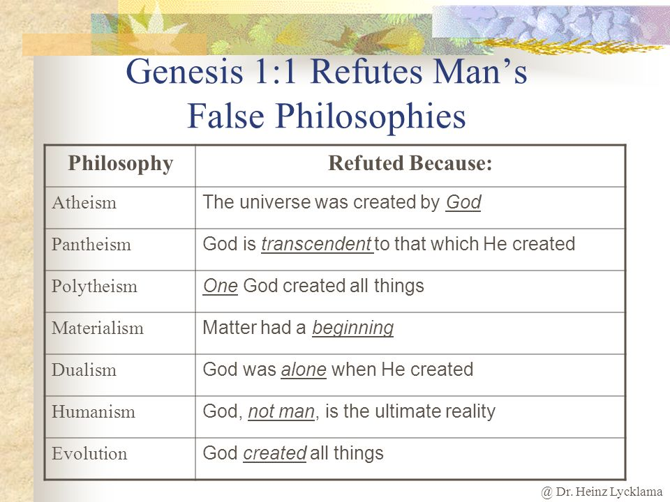 Genesis 1:1 Refutes Man's False Philosophies