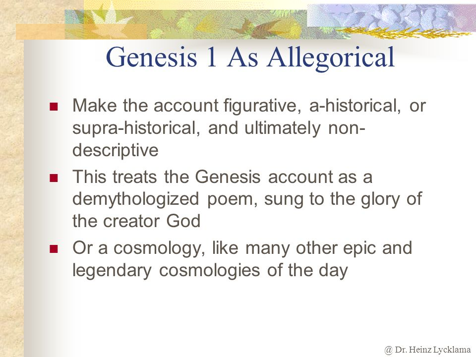 Genesis 1 As Allegorical