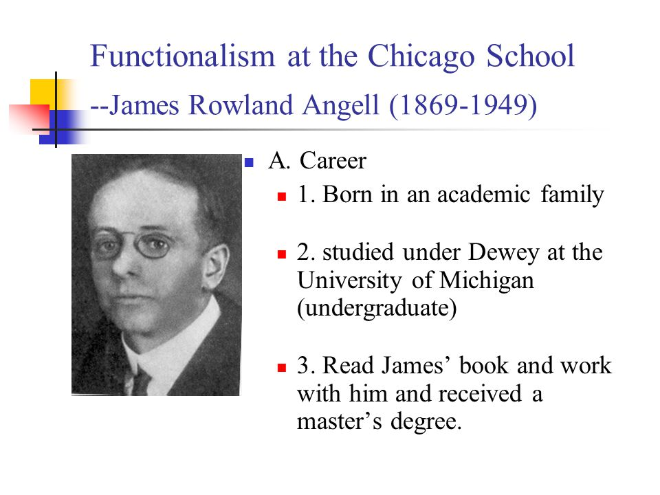 angells belief in functionalism and john watsons Structuralism and functionalism were two of the earliest schools of thought in psychology to understand these early perspectives, it is important to consider the sociohistorical context in which.
