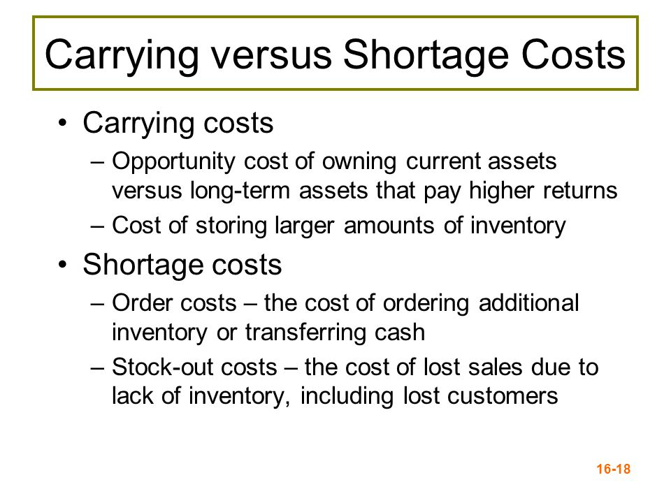 Carrying versus Shortage Costs