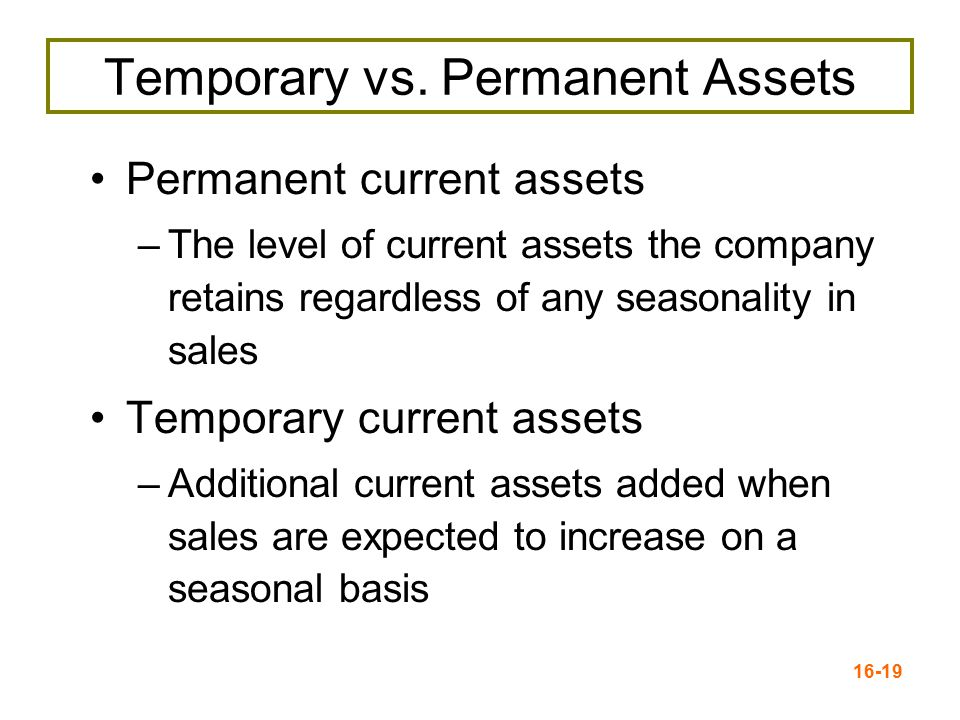 Temporary vs. Permanent Assets