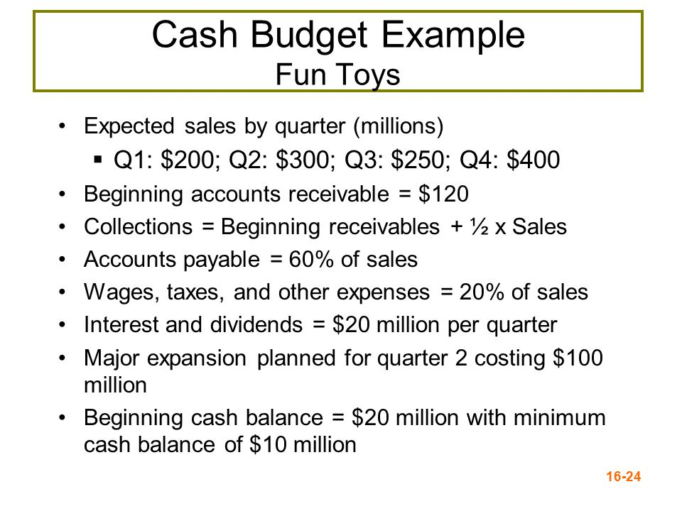 Cash Budget Example Fun Toys