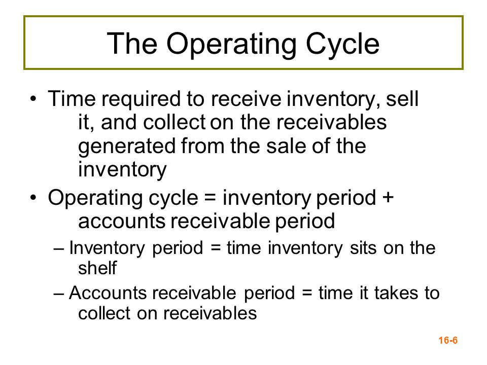 The Operating Cycle Time required to receive inventory, sell it, and collect on the receivables generated from the sale of the inventory.