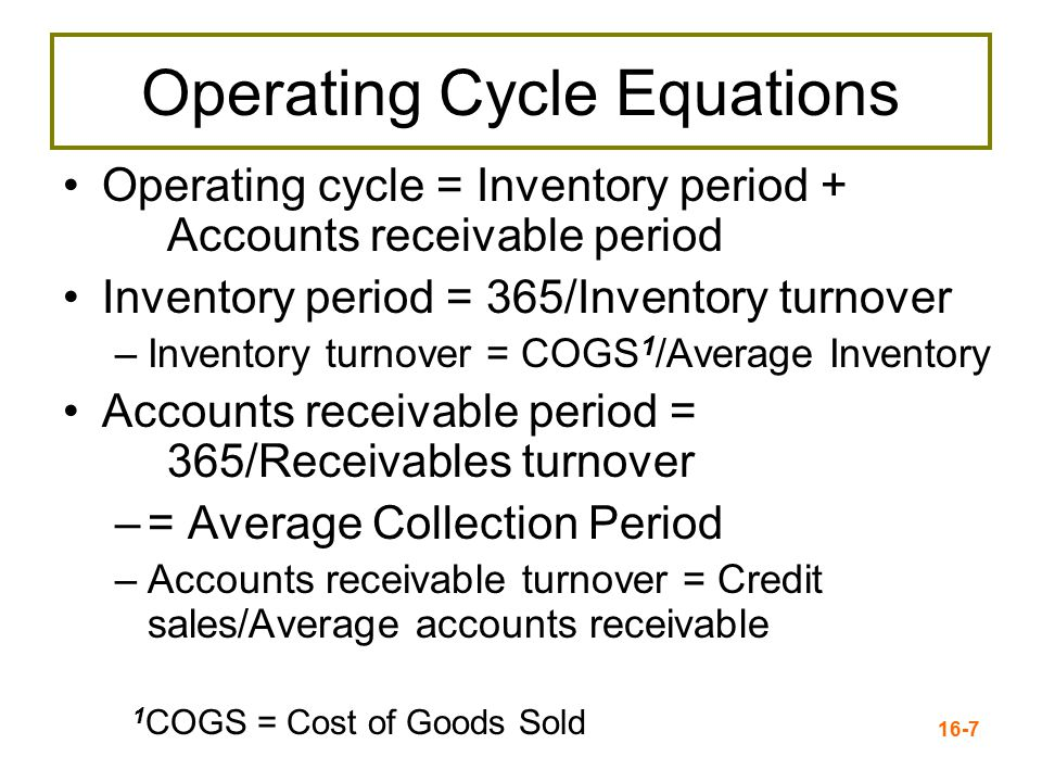 Operating Cycle Equations