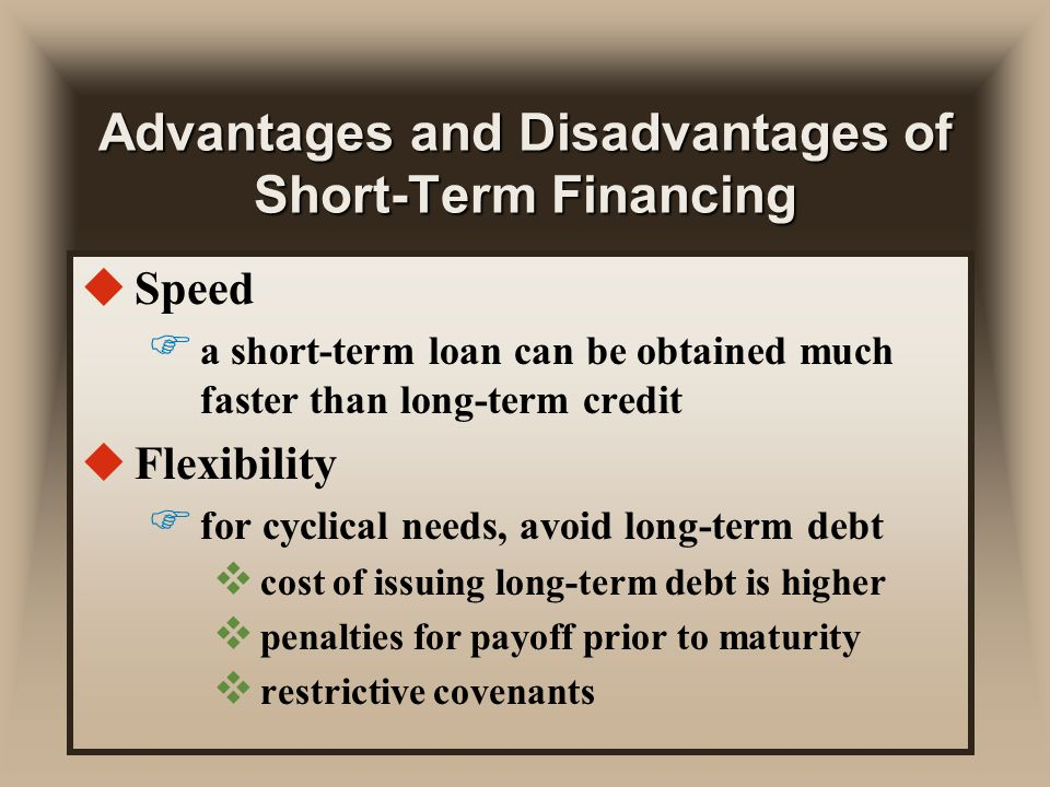 an analysis of the advantages and disadvantages of debt financing Discuss the advantage and disadvantages of financial statement analysis financial statement analysis: advantages and advantages: - it improves the debt.