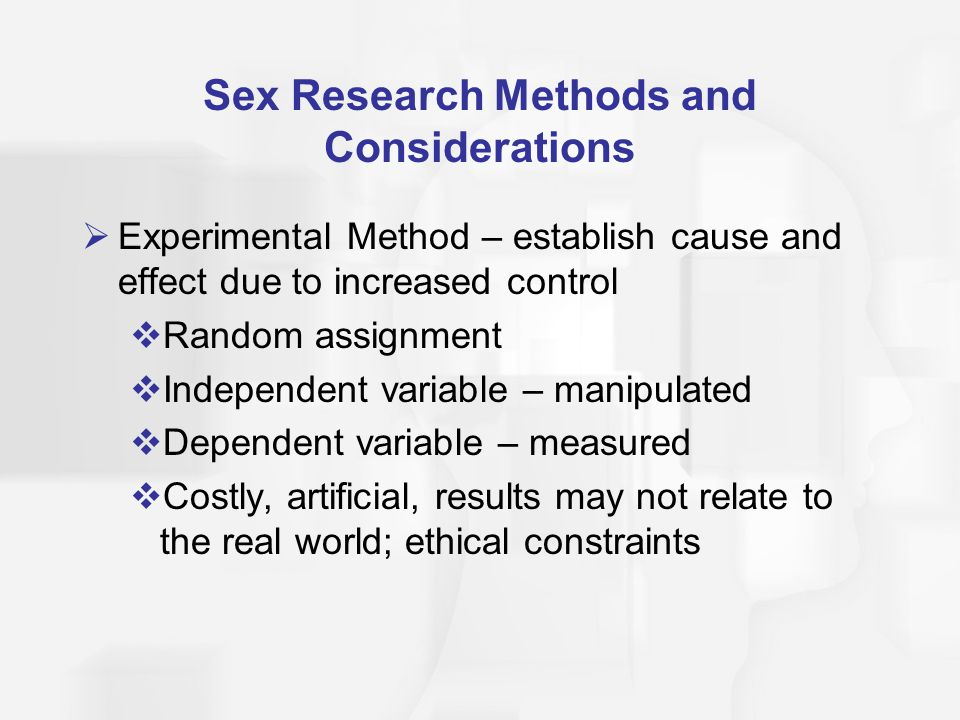 Assignment on methods of sex