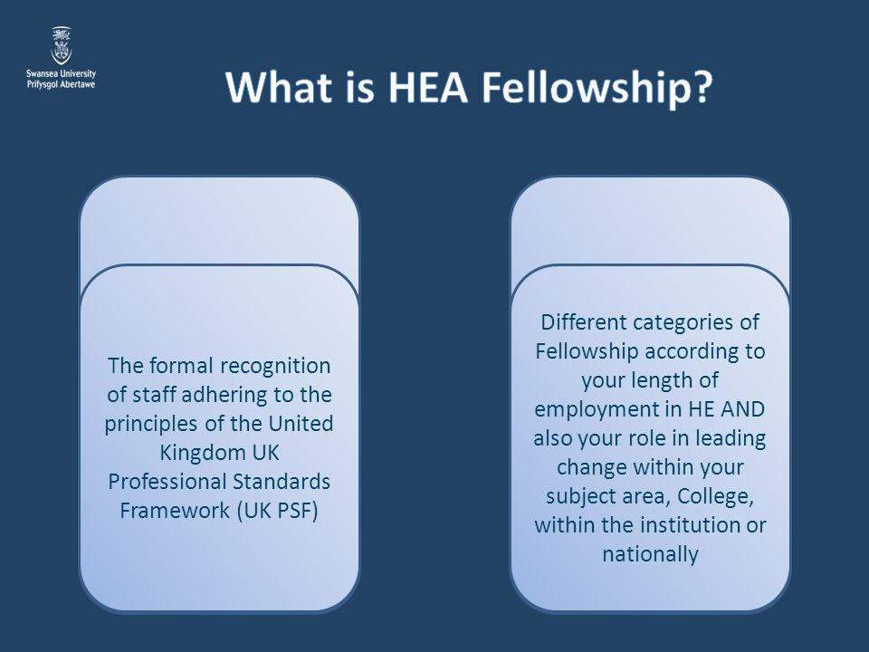 What is HEA Fellowship The formal recognition of staff adhering to the principles of the United Kingdom UK Professional Standards Framework (UK PSF)