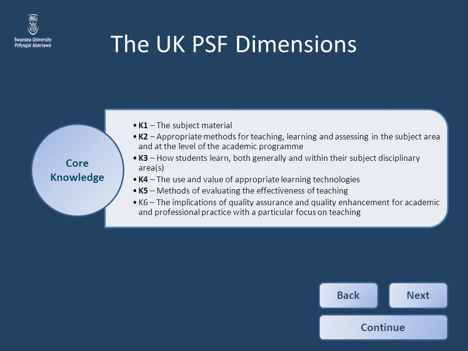 The UK PSF Dimensions Core Knowledge Back Next Continue