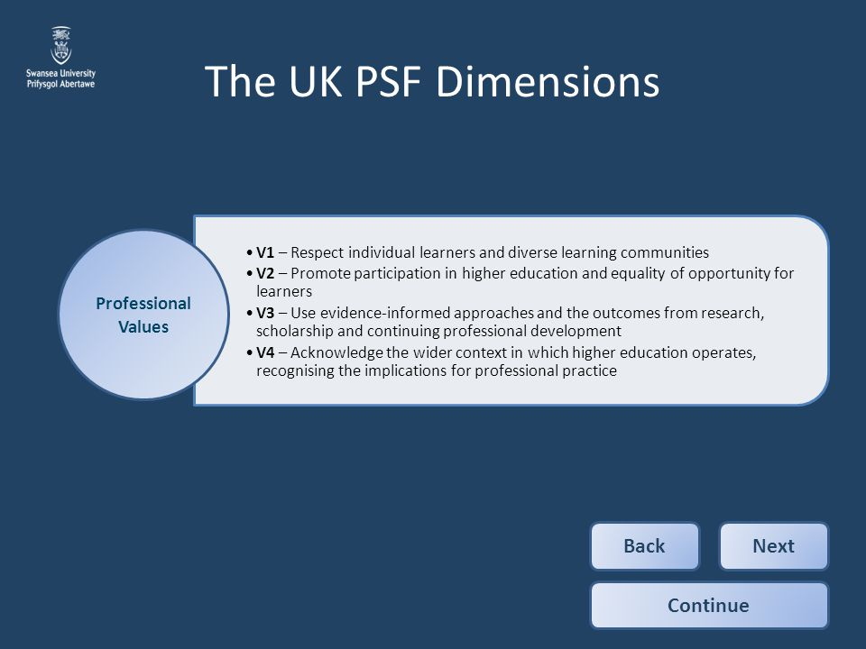 The UK PSF Dimensions Back Next Continue Professional Values