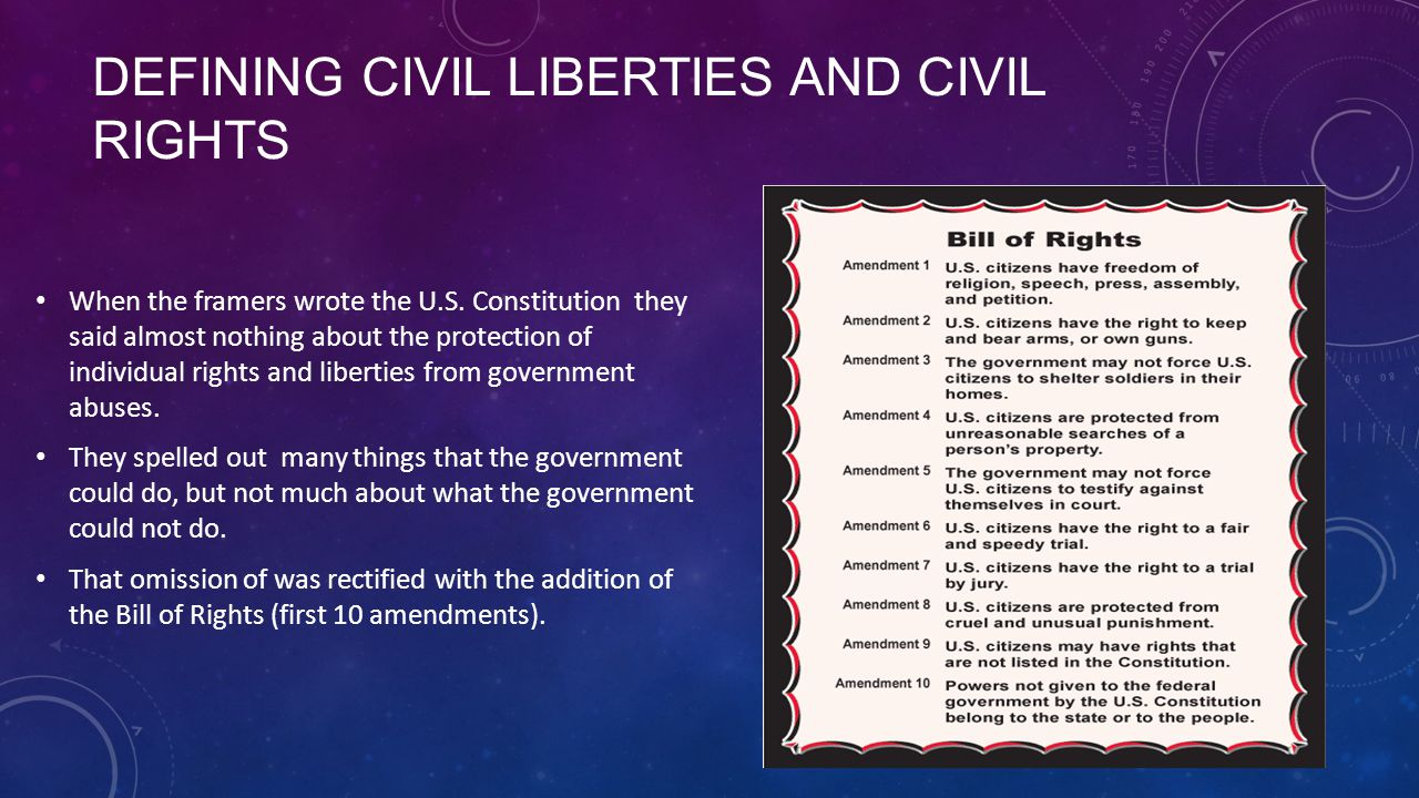 civil right and civil liberties As already stated earlier, civil and political rights are the rights that generally  restrict the  everyone has the right to liberty and security and - according to the .
