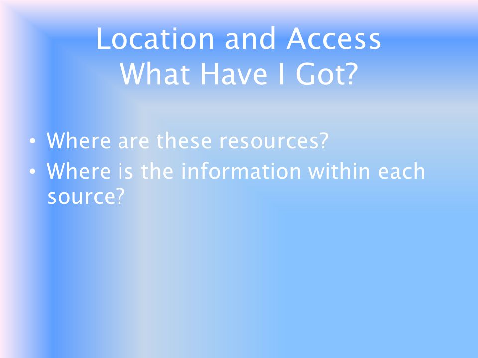 Location and Access What Have I Got
