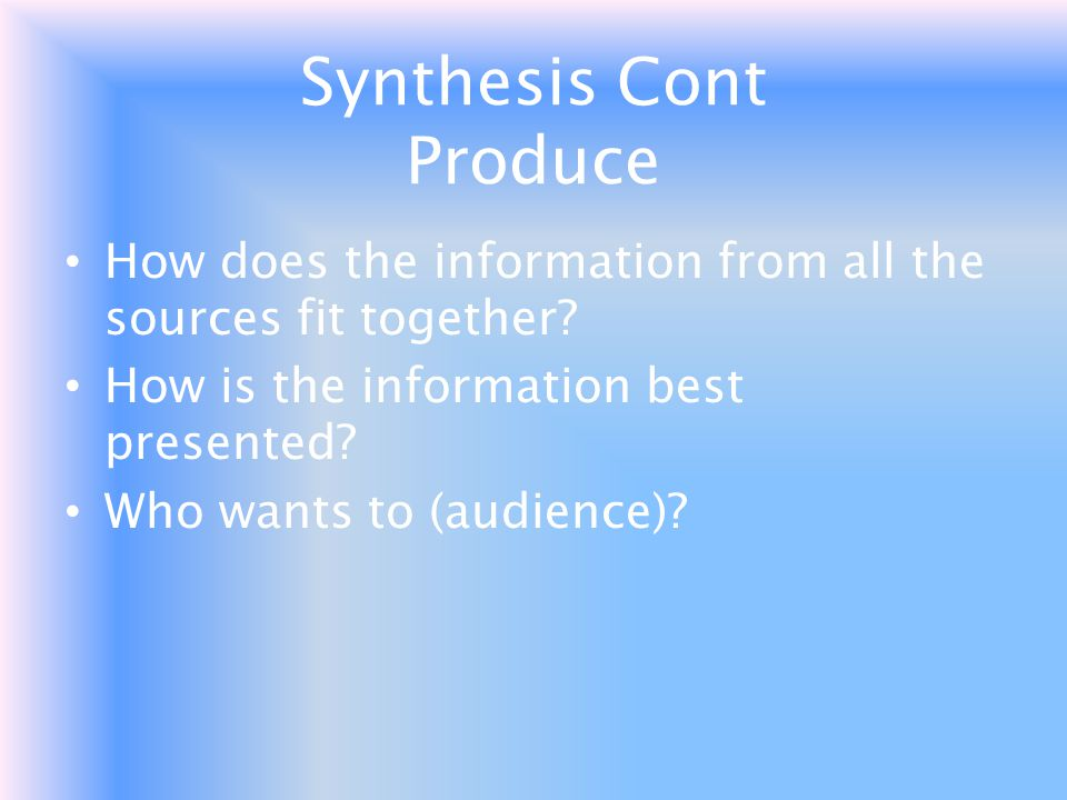 Synthesis Cont Produce