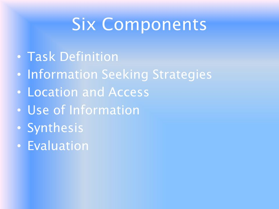 Six Components Task Definition Information Seeking Strategies