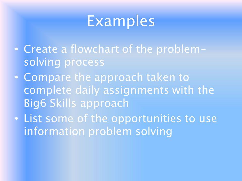 Examples Create a flowchart of the problem-solving process