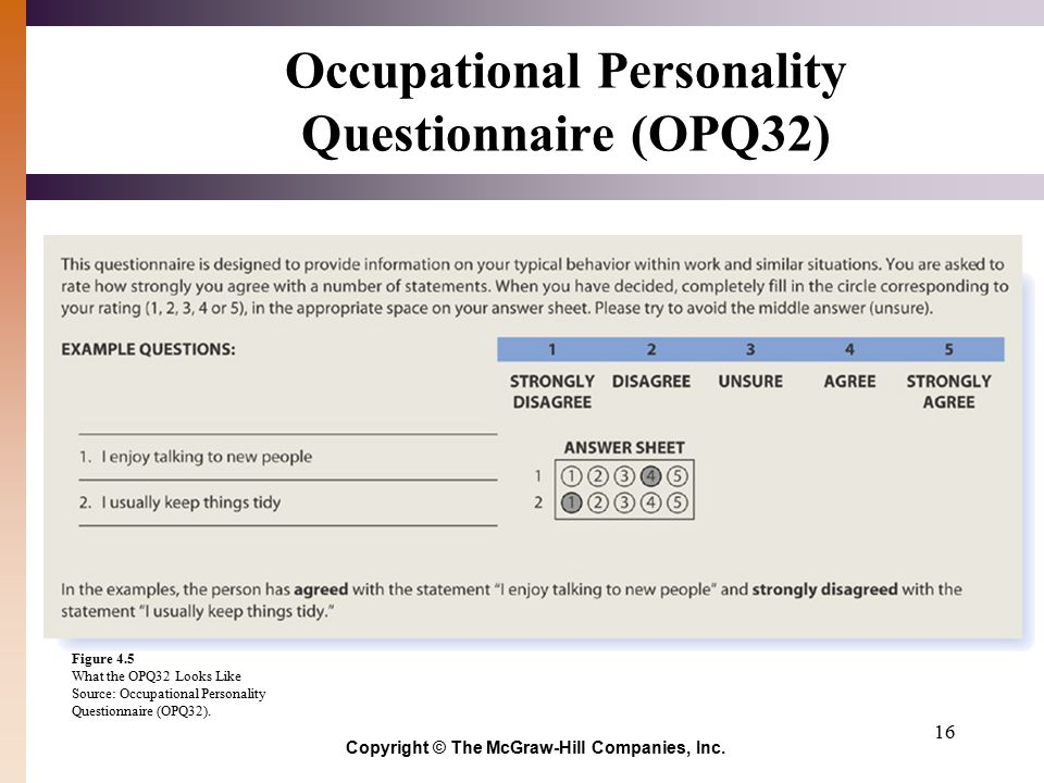Dating personality questionnaire the occupational