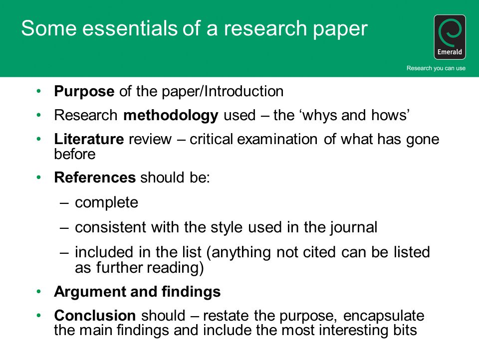 Essential paper part research
