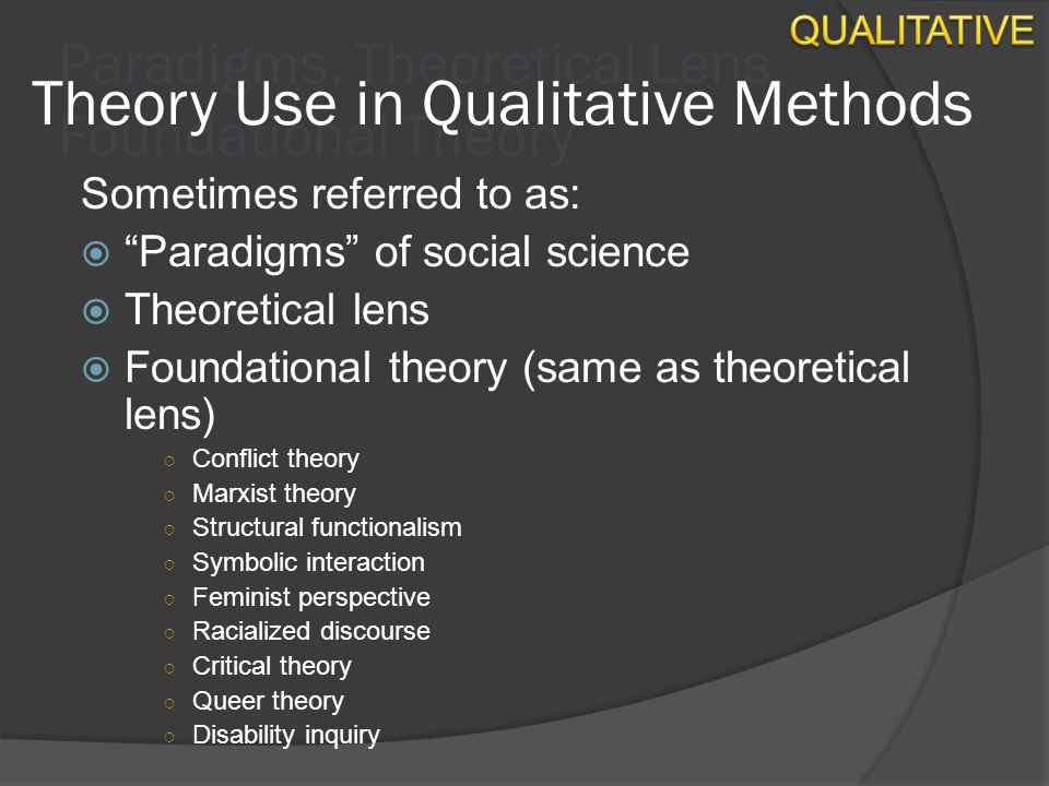 theoretical lens for research Designing a qualitative study i interpretive/theoretical frameworks that inform the study of research to interpretive lens.