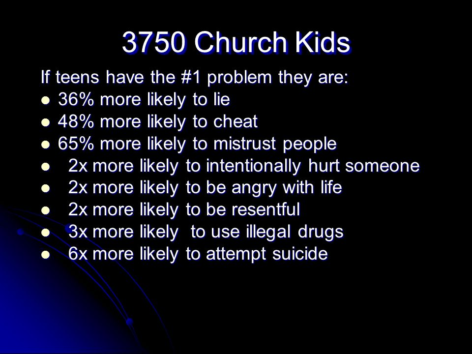 3750 Church Kids If teens have the #1 problem they are: