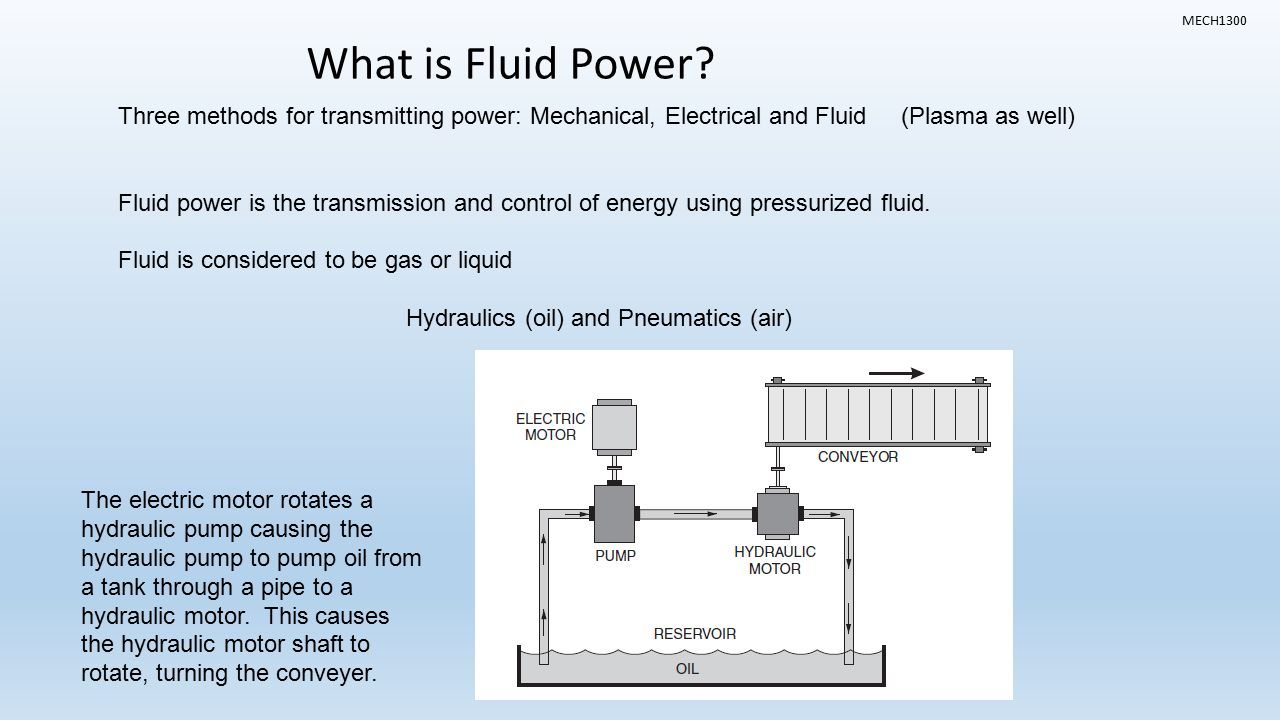 Intro to fluid power topics what is fluid power where is for How to lubricate an electric motor