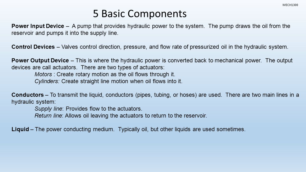 basic hydraulic system and components pdf