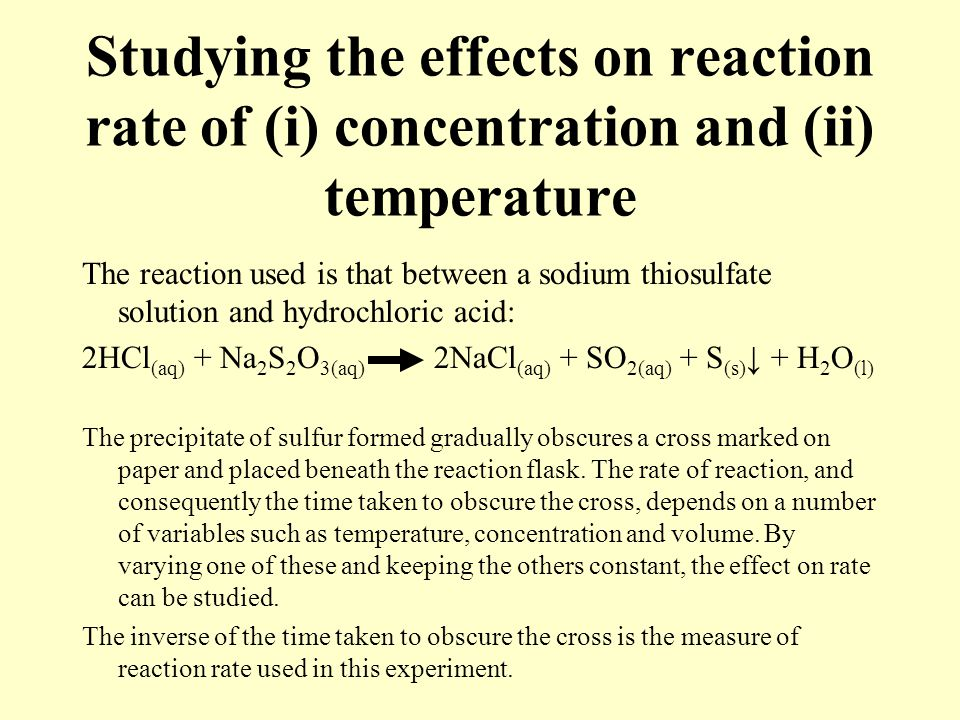 An experiment on the effects of concentration of acids to the rate of reaction