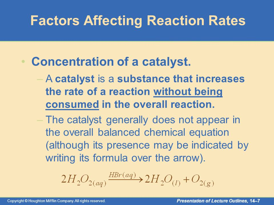 factors affecting rates of chemical reactions The aim of this experiment is to investigate whether changing the concentration of a solution will have any effect on the rate of the reaction.