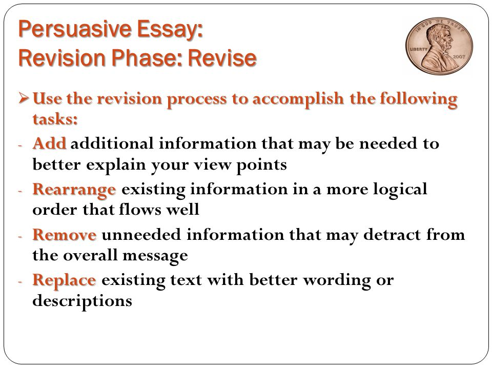 persuasive essay the penny debate yes or no ppt  persuasive essay revision phase revise