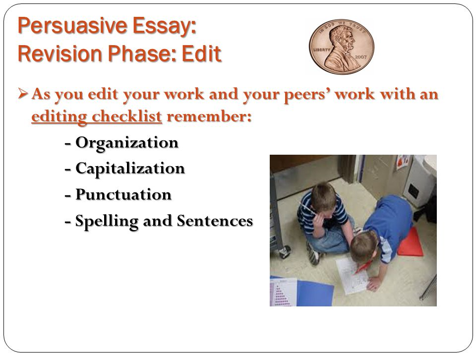 revising persuasive essay checklist Persuasive writing editing & revision checklist—six-trait writing  makes the essay persuasive by addressing both sides.