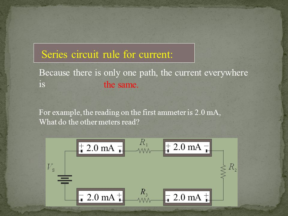 Series circuit rule for current: