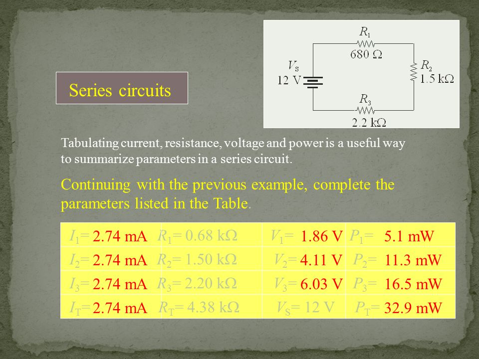 Series circuits Tabulating current, resistance, voltage and power is a useful way to summarize parameters in a series circuit.