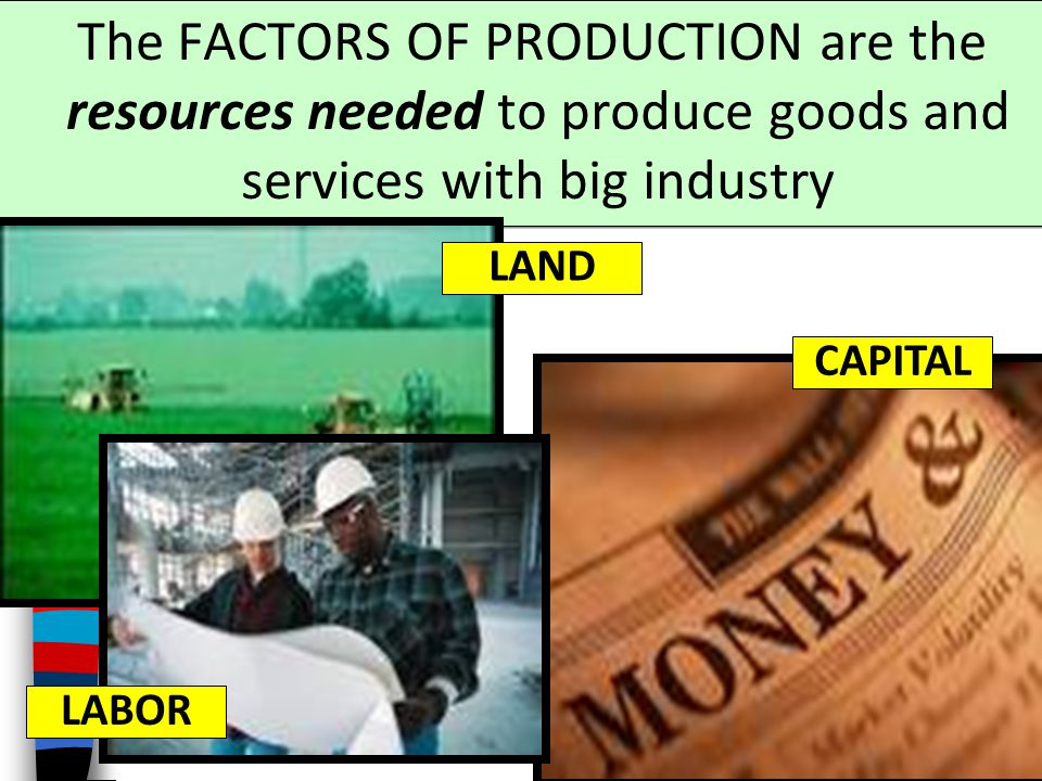 The FACTORS OF PRODUCTION are the resources needed to produce goods and services with big industry