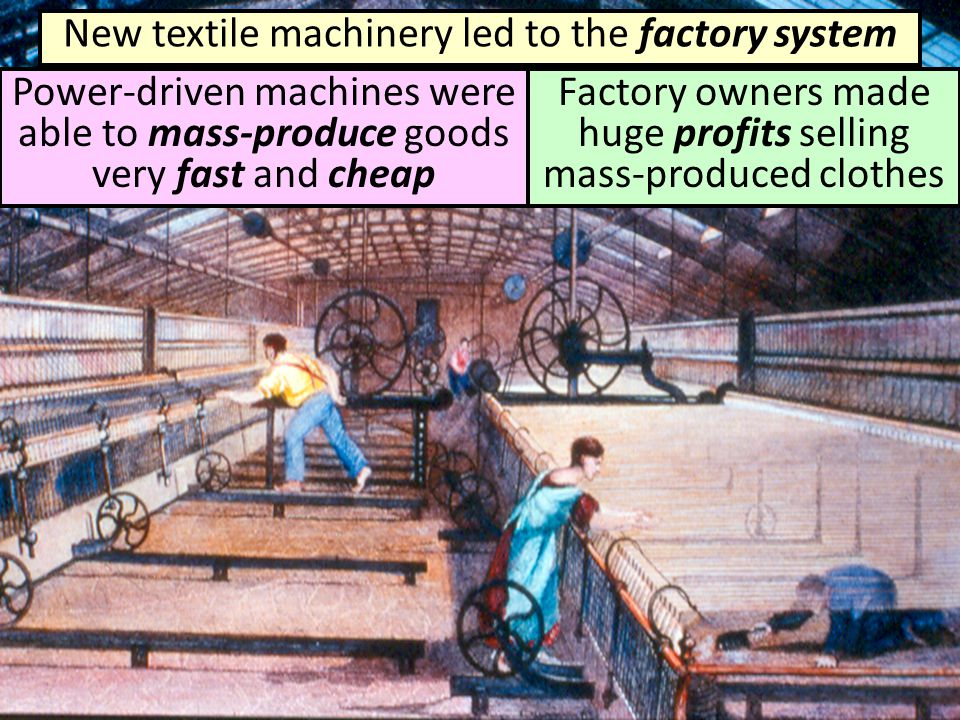 New textile machinery led to the factory system