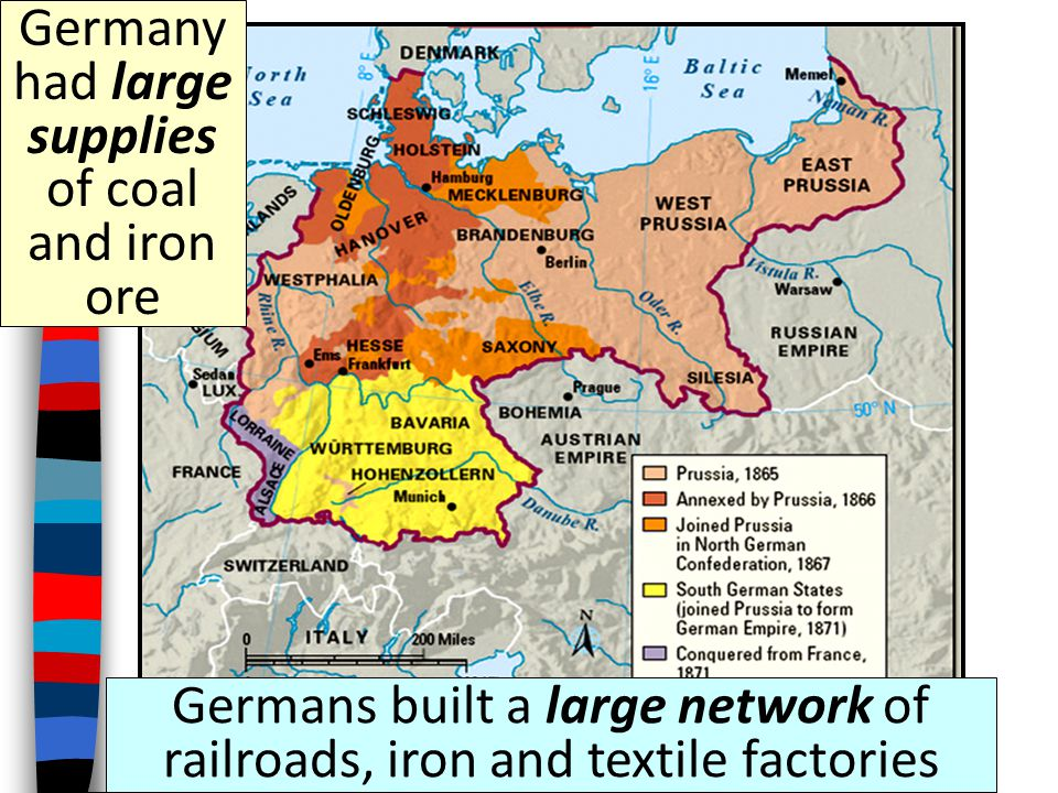 Germany had large supplies of coal and iron ore