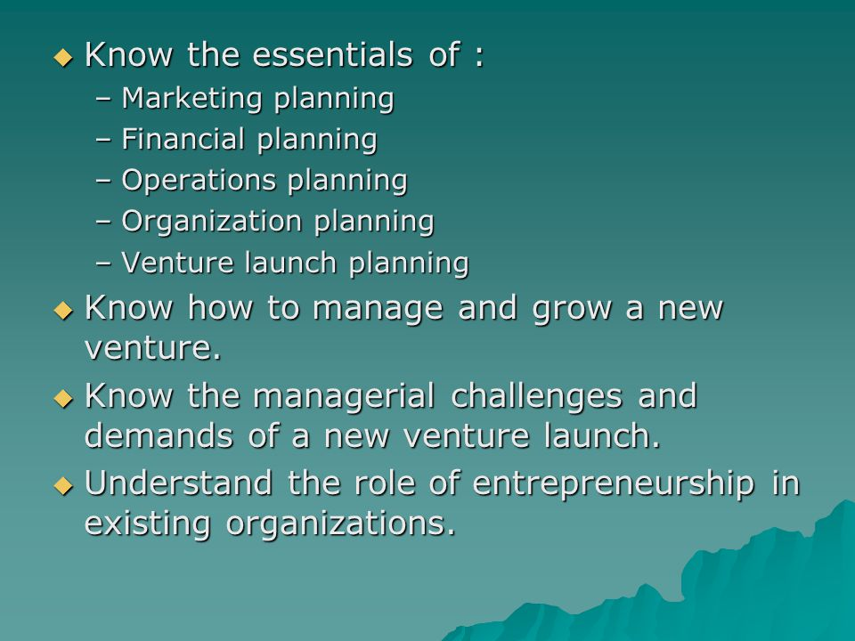 new venture planning and entrepreneurship course This 12-credit certificate consists of four required courses designed to provide you with a solid foundation in principles of entrepreneurship and new venture development.