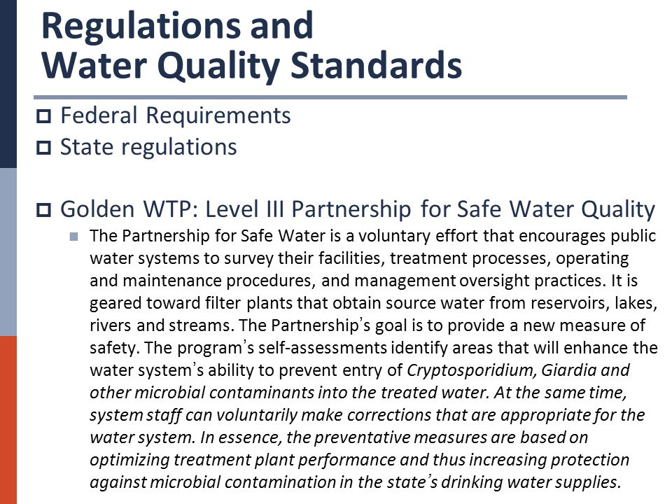 safe drinking water legislation regulations and water quality guidelines