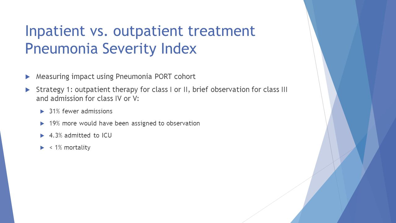 Inpatient vs. outpatient treatment Pneumonia Severity Index