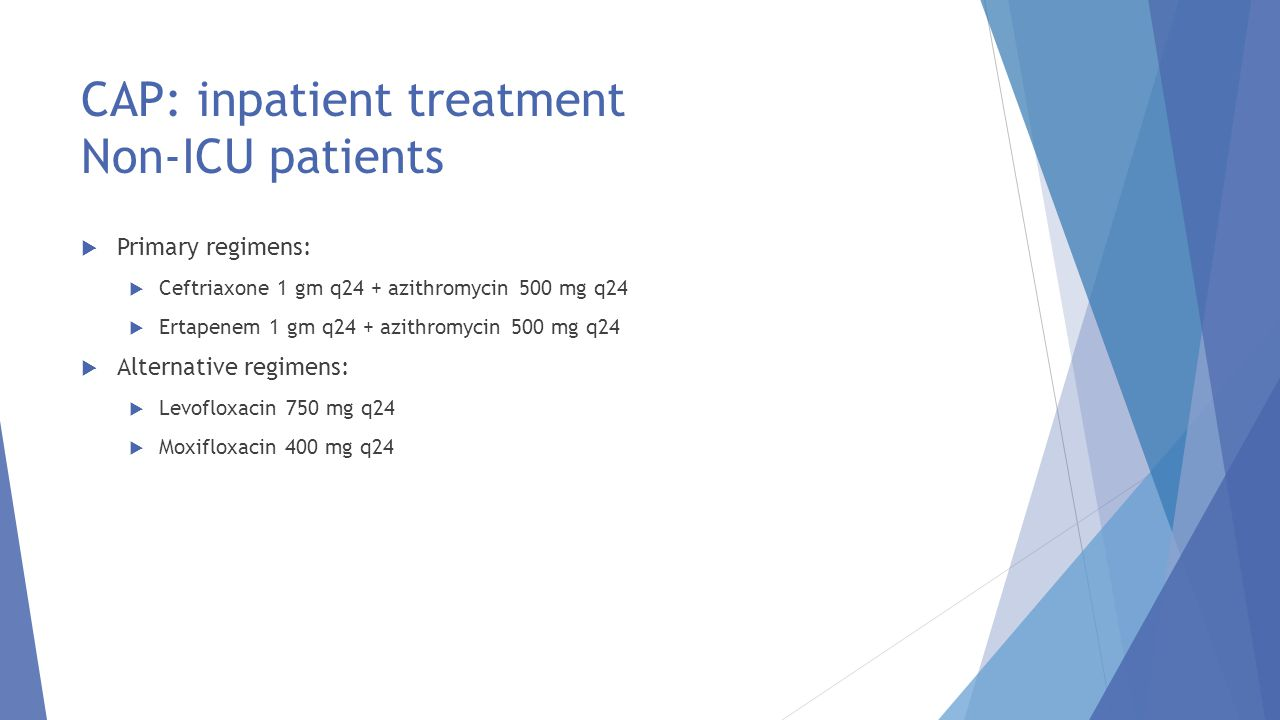 CAP: inpatient treatment Non-ICU patients