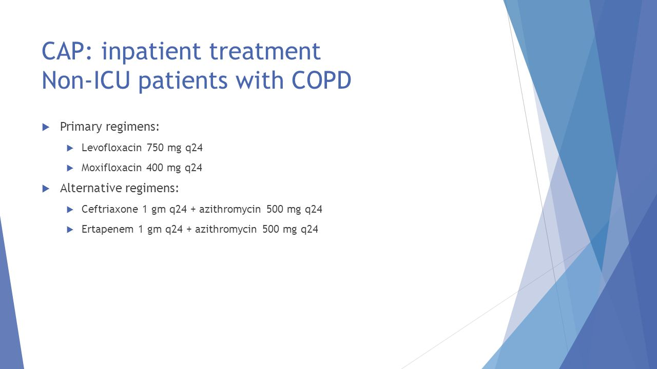 CAP: inpatient treatment Non-ICU patients with COPD
